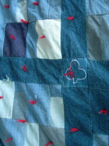 Quilt made from old blue jeans-- the warmest quilt ever.
