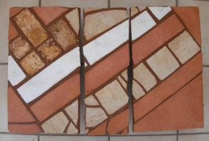 Three-section trivet made from leftover tiles.