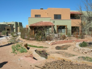 Contoured gardens provide wise use of rain water.