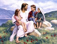 Jesus with small children. (Image Credit: My Church Journey blog)