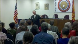 John Nichols at the IBEW Hall in Tucson.