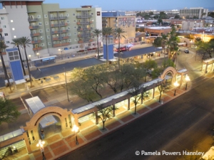 You can see multiple downtown Tucson development from atop the Pennington Street Parking Garage. The Ronstadt Transit Center (foreground) is in the crosshairs for future development.