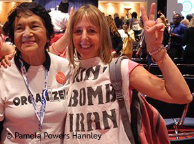 Dolores Huerta and Medea Benjamin at the DNC Women's Caucus, 2012