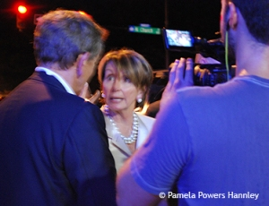 Nancy Pelosi talking with reporters at the Democratic National Convention, 2012.