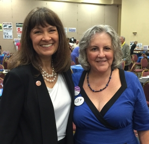 LD9 Rep. and Congressional District 2 candidate Victoria Steele with Pamela Powers Hannley, LD9 House candidate at DGT Luncheon in September.